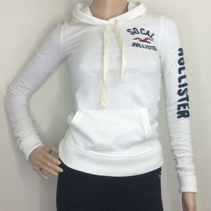 SO CAL Hollister White Sweatshirt Spellout Sleeve